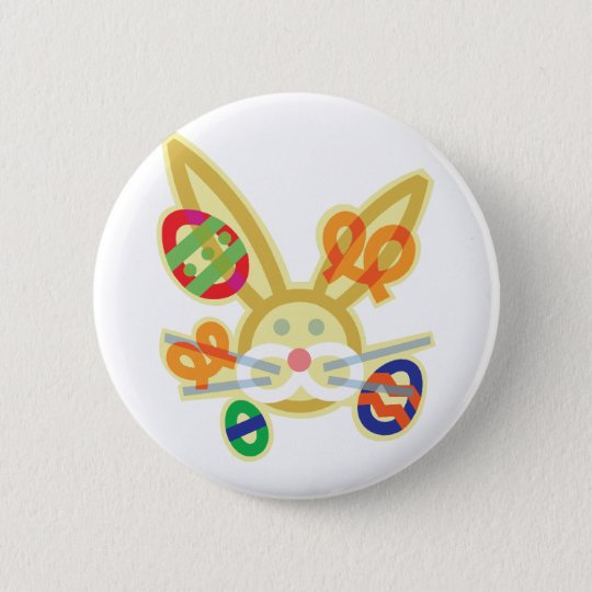 Easter bunny face outline 6 cm round badge