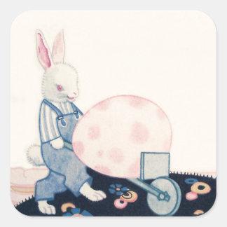 Easter Bunny Farmer Wheelbarrow Egg Square Sticker