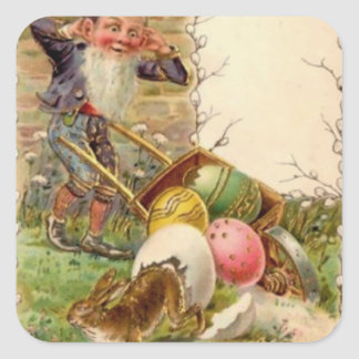 Easter Bunny Gnome Painted Colored Egg Square Sticker