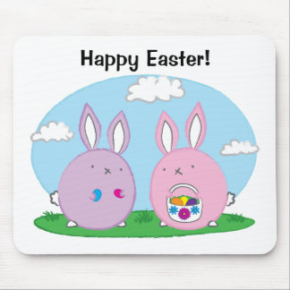 Easter Bunny Hiding Eggs Mouse Pad