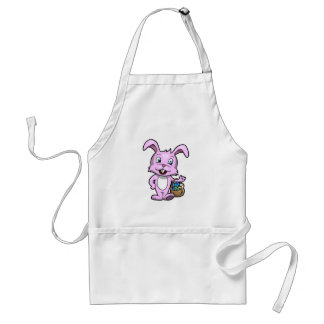 Easter Bunny Holding Basket of Eggs Standard Apron