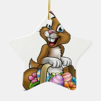 Easter Bunny Holding Egg Hunt Basket Ceramic Star Decoration
