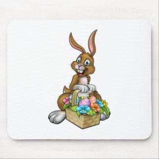 Easter Bunny Holding Egg Hunt Basket Mouse Pad