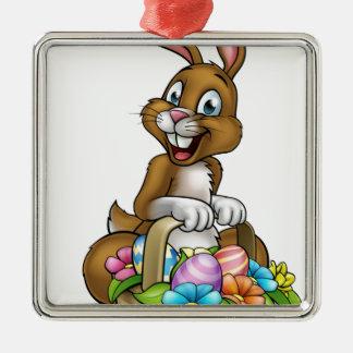 Easter Bunny Holding Egg Hunt Basket Silver-Colored Square Decoration