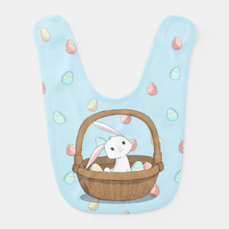Easter Bunny in a Basket with Easter Eggs Bib