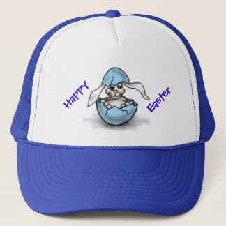 Easter Bunny in a Blue Egg Trucker Hat