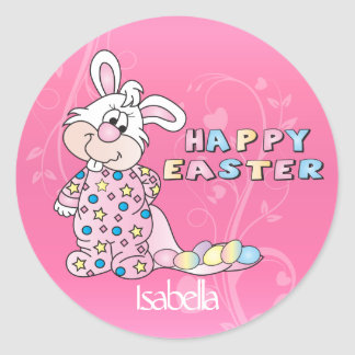 Easter Bunny in Pretty Pink Classic Round Sticker