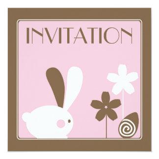 """Easter Bunny Invitation Card 5.25"""" Square Invitation Card"""