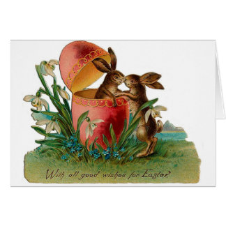 Easter Bunny Kiss Vintage Card