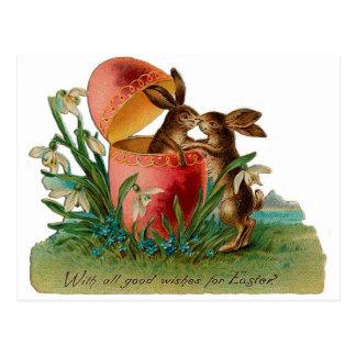 Easter Bunny Kiss Vintage Postcard