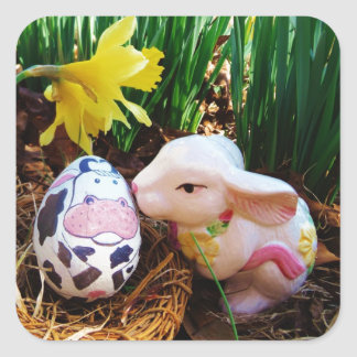 Easter Bunny kissing Cow Egg Square Sticker