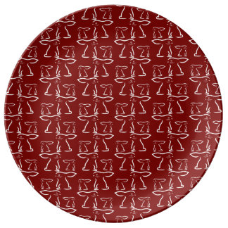 Easter Bunny on Cherry Red Background Porcelain Plate