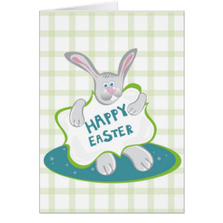 Easter Bunny on green Greeting Cards