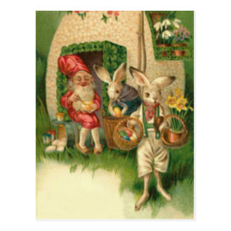 Easter Bunny Painted Colored Egg Flower Gnome Postcard