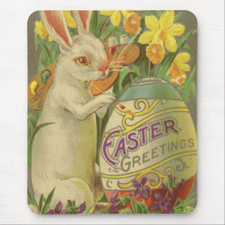 Easter Bunny Painting Egg Daffodil Crocus Mouse Mat