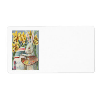 Easter Bunny Painting Painted Colored Egg Daffodil Shipping Label