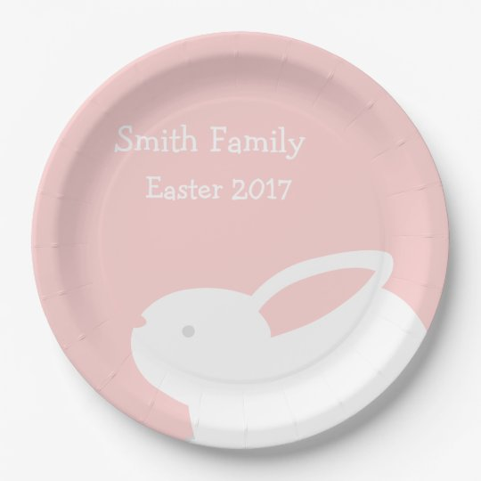 Easter Bunny Paper Pink Paper Plates w/ Your