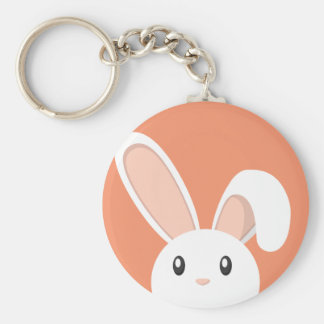 Easter Bunny peeping Basic Round Button Key Ring