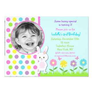 Easter Bunny Photo Birthday Party Invitations