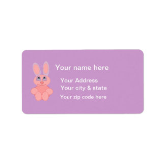Easter Bunny Pink Rabbit Postage Stamp Address Label