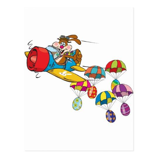 Easter bunny Plane Postcard