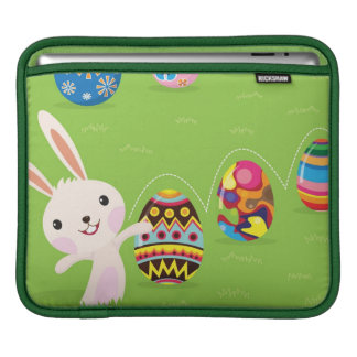 Easter bunny playful with painted eggs iPad sleeve