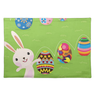 Easter bunny playful with painted eggs placemat