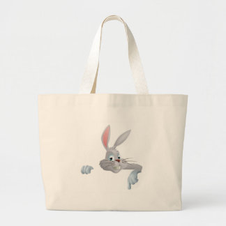 Easter bunny pointing down tote bag