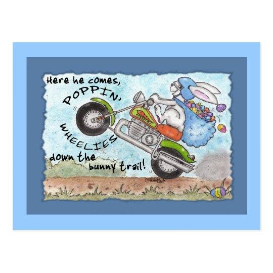 Easter Bunny Poppin' Wheelies Postcard