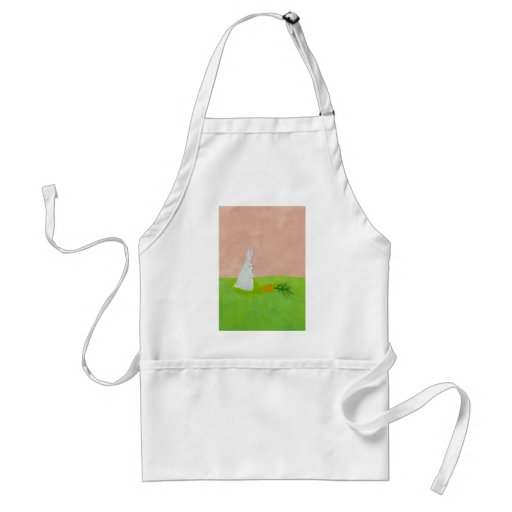 Easter bunny rabbit carrot art colorful painting apron