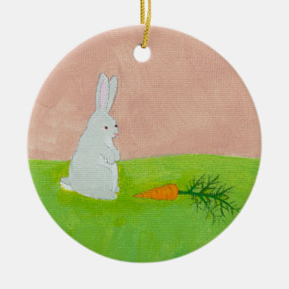 Easter bunny rabbit carrot art colorful painting round ceramic decoration