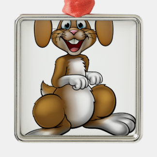 Easter Bunny Rabbit Cartoon Character Silver-Colored Square Decoration