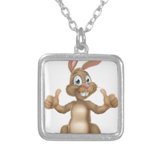 Easter Bunny Rabbit Character Giving Thumbs Up Silver Plated Necklace