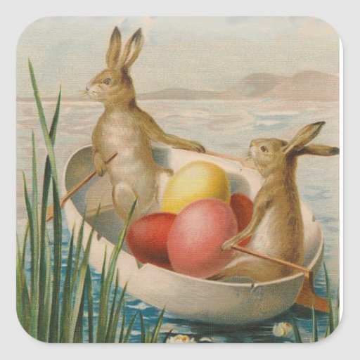 Easter Bunny Rabbit Colored Egg Boat Stickers
