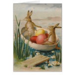 Easter Bunny Rabbit Coloured Egg Boat Greeting Card