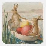 Easter Bunny Rabbit Coloured Egg Boat Square Sticker