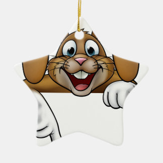 Easter Bunny Rabbit Pointing Christmas Ornament