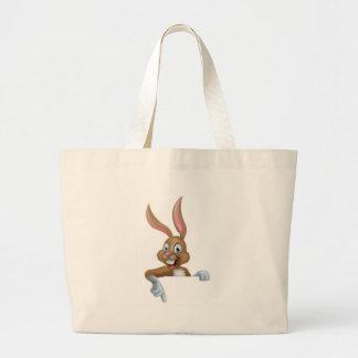 Easter Bunny Rabbit Pointing Down Jumbo Tote Bag