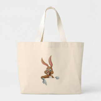 Easter Bunny Rabbit Pointing Down Large Tote Bag