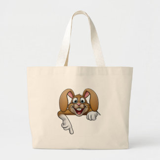 Easter Bunny Rabbit Pointing Large Tote Bag