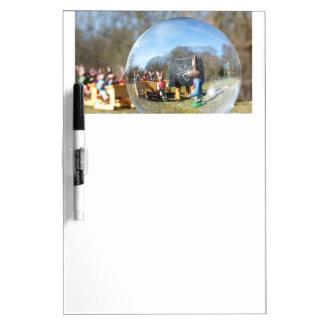 Easter Bunny school seen through the glass ball 2 Dry Erase Board