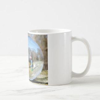 Easter Bunny school seen through the glass ball Basic White Mug
