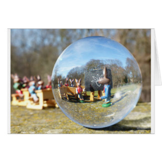 Easter Bunny school seen through the glass ball Greeting Card