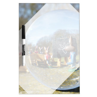 Easter Bunny school seen through the glass ball Dry-Erase Boards