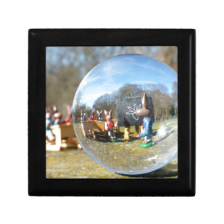 Easter Bunny school seen through the glass ball Gift Boxes
