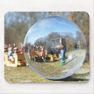 Easter Bunny school seen through the glass ball Mouse Pad