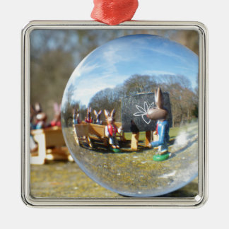 Easter Bunny school seen through the glass ball Silver-Colored Square Decoration