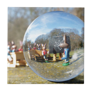 Easter Bunny school seen through the glass ball Small Square Tile