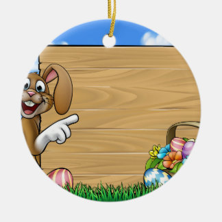 Easter Bunny Sign Round Ceramic Decoration