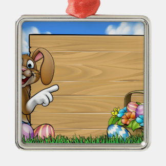 Easter Bunny Sign Silver-Colored Square Decoration